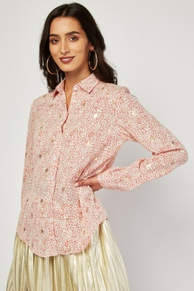 Metallic Speckled Contrasted Chiffon Shirt