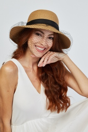 Net Ribbon Trim Straw Hat
