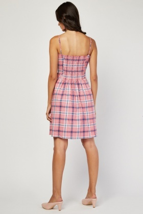 Tie Up Frilly Plaid Dress