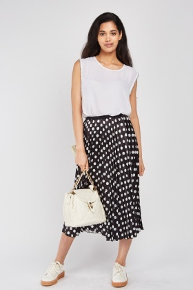 Pleated Polka Dotted Midi Skirt