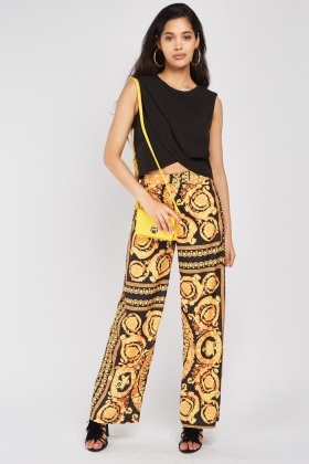 Wide Leg Baroque Print Trousers