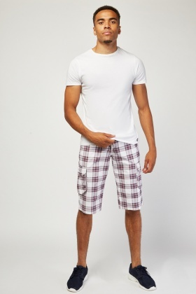 Flap Pockets Side Plaid Shorts