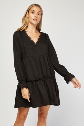 Lace Trim Smock Dress