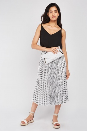 Pleated Sateen Polka Dot Skirt