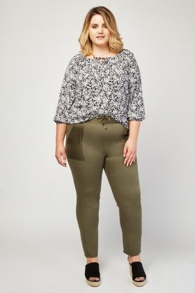 Sateen Contrast Skinny Trousers