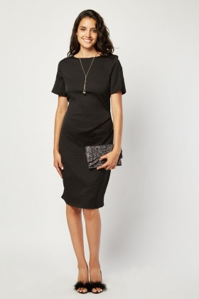 Short Sleeve Black Crinkled Dress