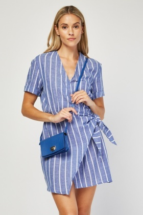 Tie Up Striped Wrap Dress