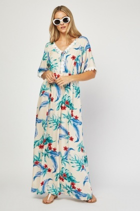 Tropical Printed Maxi Dress