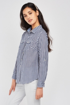 Twin Pocket Front Gingham Shirt