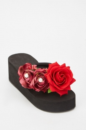 3D Flowers Wedge Sandals