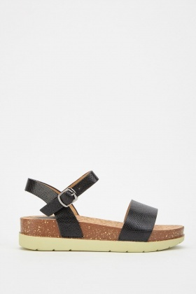 Chunky Mock-Croc Textured Sandals
