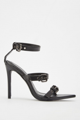 Faux Leather Buckled Heels