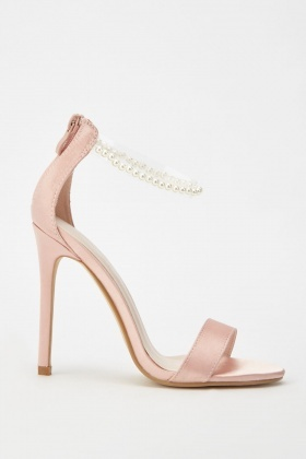 Faux Pearl Strap Heeled Sandals