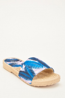 Tropical Leaf Print Sliders