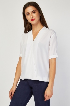 White Sheer Dip Hem Blouse