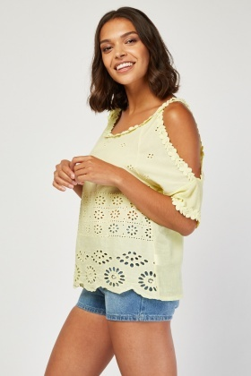Cutwork Cold Shoulder Broderie Top