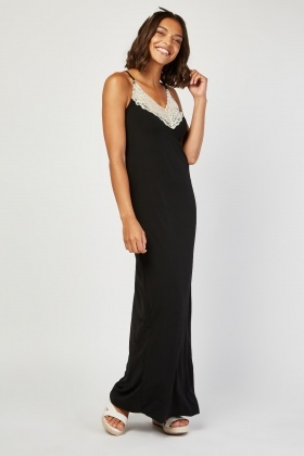 Lace Trim Jersey Maxi Dress