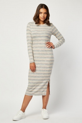Metallic Thread Midi Bodycon Dress