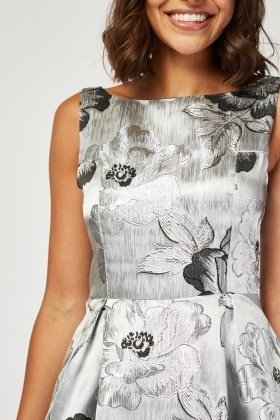 Rose Jacquard Midi Skater Dress