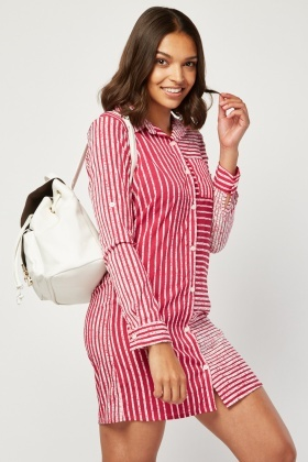 Scattered Stripe Long-Line Shirt Dress