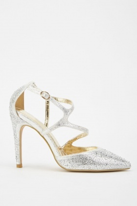 Encrusted Metallic Court Heels