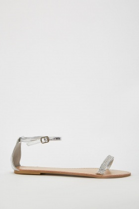 Encrusted Metallic Flat Sandals