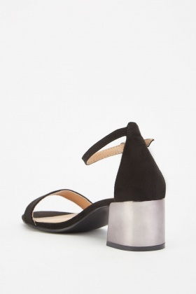 Metallic Block Heel Sandals