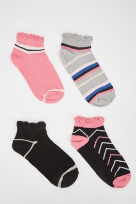 Pack Of 12 Pairs Mix Contrast Socks