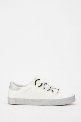 Shimmery Faux Leather Trainers