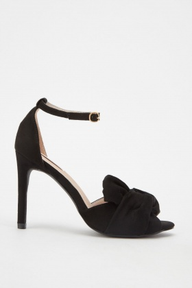 Suedette Bow Front Heeled Sandals