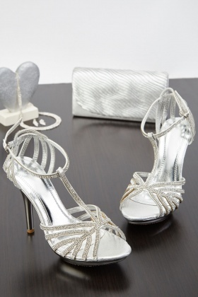T-Strap Encrusted Heeled Sandals