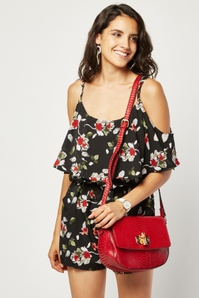 Cold Shoulder Floral Print Playsuit