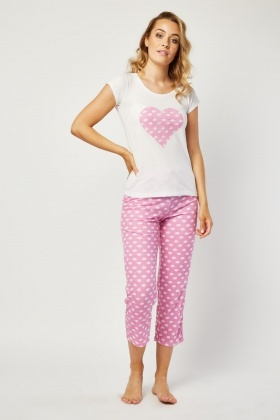 Heart Hedgehog Print Pyjama Set