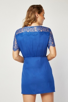 Lace Insert Wrap Dress