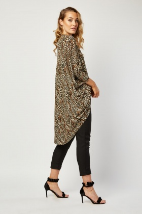 Open Front Slouchy Leopard Cardigan