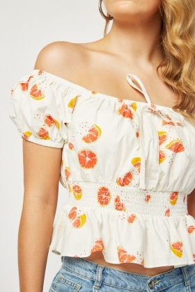 Orange Print Crop Bardot Top