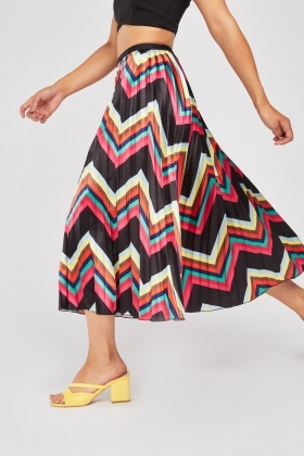 Pleated Zig Zag Stripe Skirt