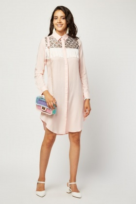 Sequin Fringed Shirt Dress