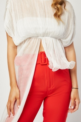 Sheer Contrasted Panel Plisse Top