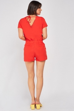 V-Neck Lace Trim Playsuit
