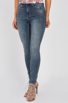 Washed Blue High Rise Skinny Jeggings