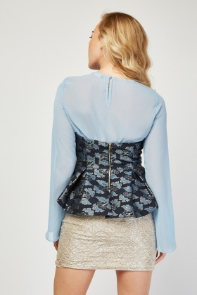 2-In-1 Jacquard Peplum Overlay Top