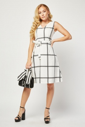 Belted Window Pane Print Dress