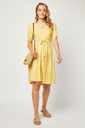 Button Front Midi Jersey Dress
