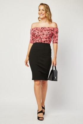 Flower Bodice Bardot Dress