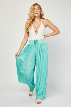 Lace Up Pleated Palazzo Trousers