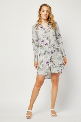 Lilly Flower Contrast Shirt Dress