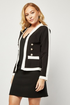 Military Button Trim Monochrome Jacket