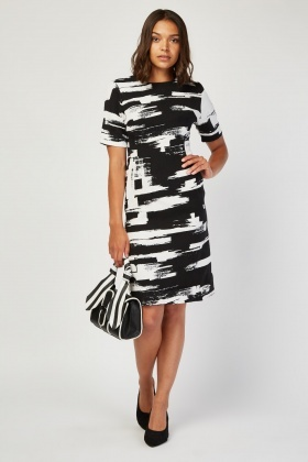 Mono Brushed Stroke Print Dress