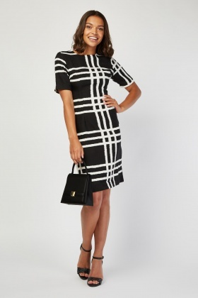 Scattered Checkered Pencil Dress